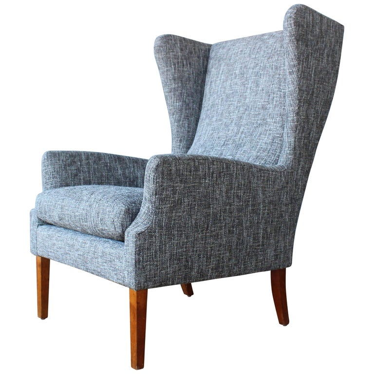 1960s Danish High Back Wing Chair in New Upholstery For Sale