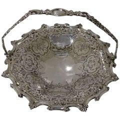 Sterling Silver Antique Victorian Cake Basket London 1857 Joseph Angell