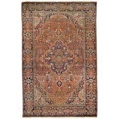 Late 19th Century Antique Persian Mohtashem Kashan Rug