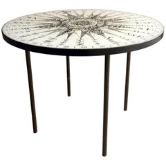Midcentury Fornasetti Style Circular Occasional Table Compass Top
