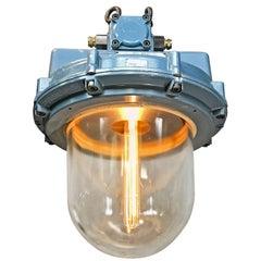 1980s British Made Aluminium and Glass Explosion Proof Victor Pendant Lamp