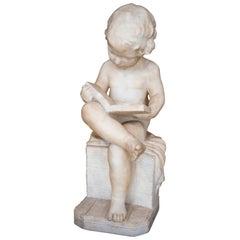 Antique Italian 19th Century Marble Sculpture Putto Reading a Book Signed Pugi
