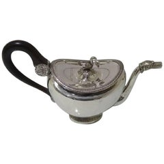 19th Century Antique Silver Teapot circa 1830 Brussels
