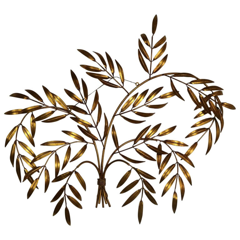 Italian Gilt Metal Wall Sculpture of Branches with Leaves Midcentury Hollywood 1