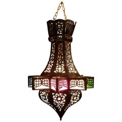 Moroccan Small Pierced Metal Lantern, Star Design
