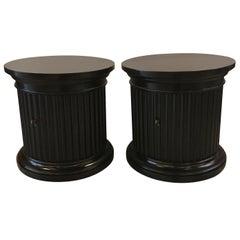 Pair of Round Storage Pedestal End Tables