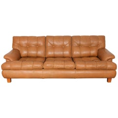 Mid-Century Modern Tan Leather Tufted Three-Seat Swedish Sofa