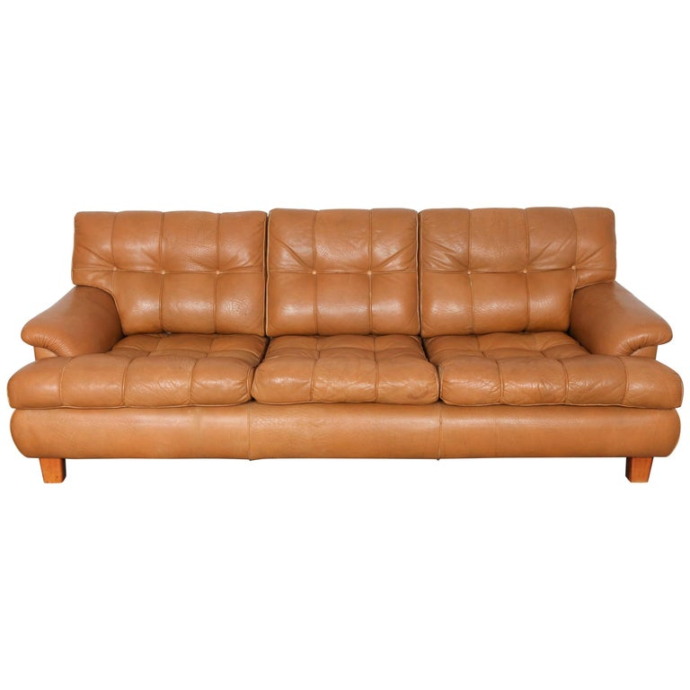 Mid Century Modern Tan Leather Tufted Three Seat Swedish Sofa For