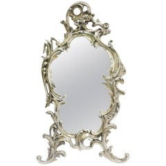 Antique Louis XVI-Style Silver Plated Frame Mirror