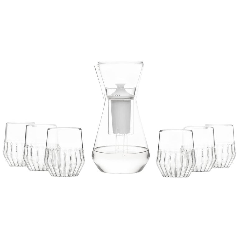Talise Carafe Pitcher and Six Mixed Small Glasses by fferrone, Czech Republic