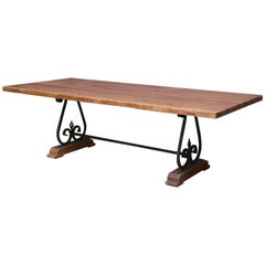Pedestal Dinning Table with Solid Teak Wood Top on a Wrought Iron Support