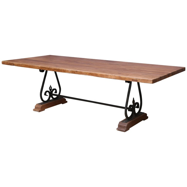 Pedestal dinning table with solid teak wood top on a for Dining table support