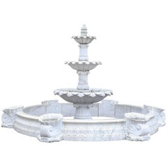 Hand-Carved White Marble Fountain with Surround from a Park in India