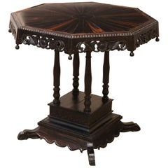 19th Century Solid Ebony Hexagonal Centre Table from Sri Lanka