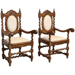 Pair of 1850s Solid Satinwood Armchairs from Galle District of Sri Lanka