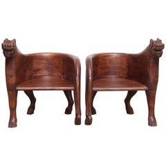 Pair of Midcentury Solid Teak Wood Leopard Chairs from Hunting Lodges in India