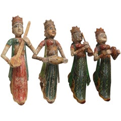Four 1920s Solid Wood Figures of Lady Musicians from a Jain Temple in Gujarat