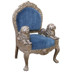 Sterling Silver Throne Type Chair with Lion Armrest
