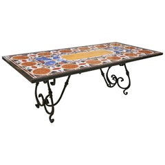 Midcentury Pietra Dura Inlaid Marble Dinning Table on Iron Support