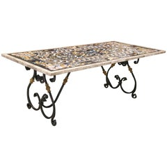 Midcentury Intricately Inlaid Pietra-Dura Marble Table
