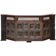 Handcrafted Teak Wood Heavy Bar from a Village Tavern