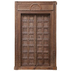 1820s Monumental Solid Teak Wood Entry Door from a Fortress
