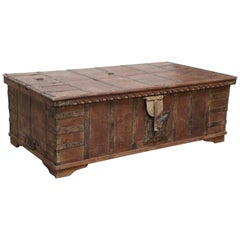 1820s Solid Teak Wood Dowry Chest from Central India