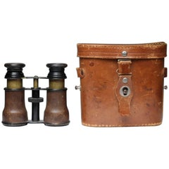 Antique Shark Skin Wrapped Opera Glasses and Leather Case, circa 1800s