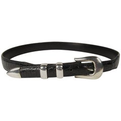 Billy Martin Black Aligator Leather Belt with Doug Magnus Sterling Silver Buckle