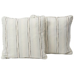 "Schumacher Moncorvo Striped Linen Le Mirage Blue Two-Sided 18"" Pillows, Pair"