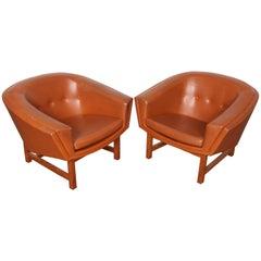 "Swedish ""Corona"" Leather Lounge Chair by Lennart Bender"
