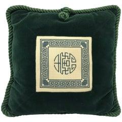 1960s Chinoiserie Needlepoint and Green Velvet Pillow