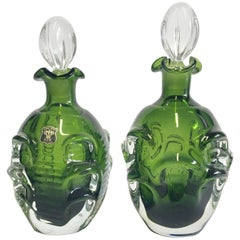 Pair of Mid-Century Modern Swedish Emerald Green Blown Glass Decanters