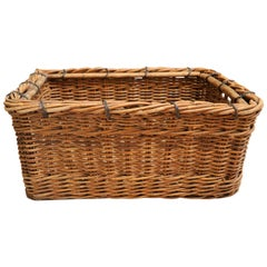 Large Vintage Rattan Basket from France, circa 1940