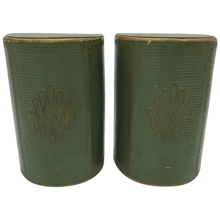 1940s Italian Green Leather Bookends with Gold Detailing, Pair