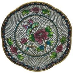 19th Century French Plique a Jour Cloisonné Mosaic Dish with Floral Motif