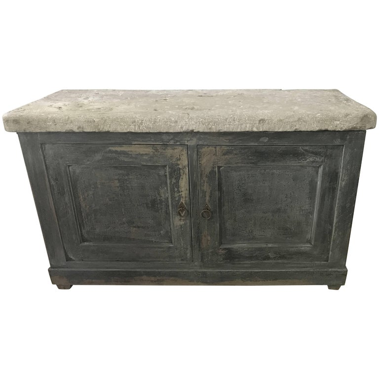French Blue Cabinet with a Belgian Blue Stone Top For Sale