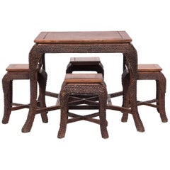Chinese Dragon Scale Tea Table and Stools