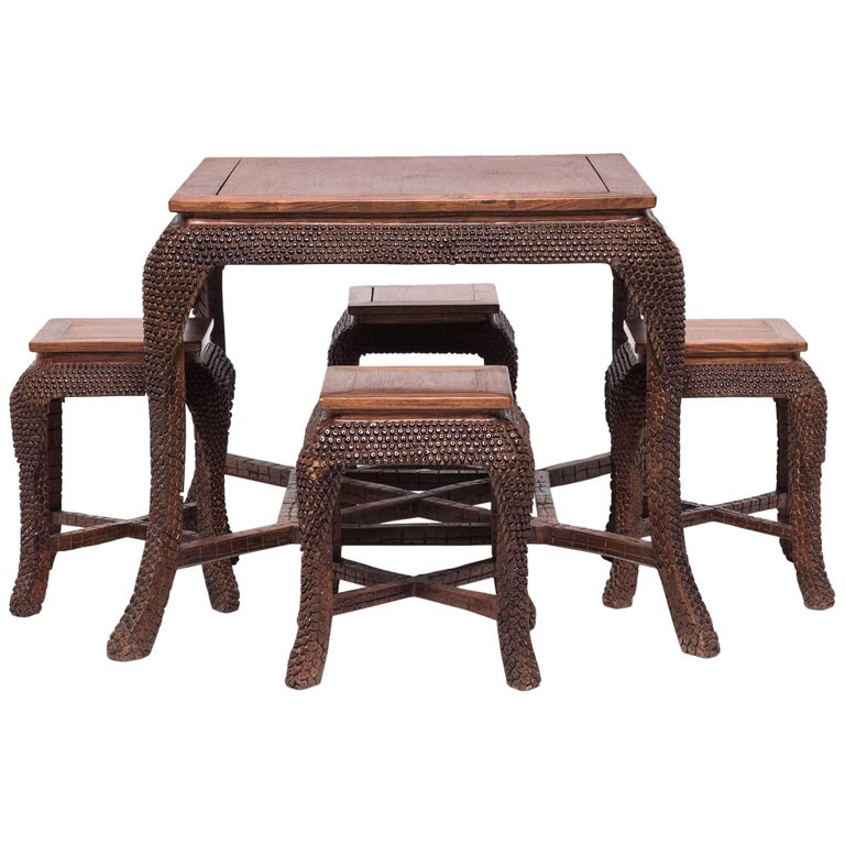 Chinese Dragon Scale Tea Table And Stools For Sale At 1stdibs