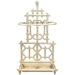 1920s Cast-Iron White Faux Bamboo Umbrella Stand with Tray