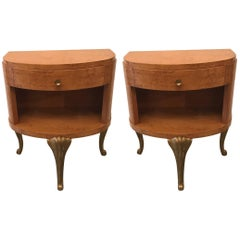 Pair of Blonde and Parcel Gilt Nightstands