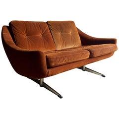Vintage Midcentury Danish 1960s Aage Christiansen Suede Sofa Brown