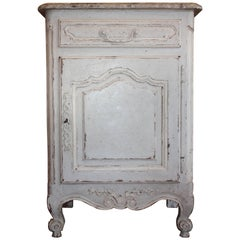 French Hand-Painted Single Door Cabinet with Faux Painted Marble Top