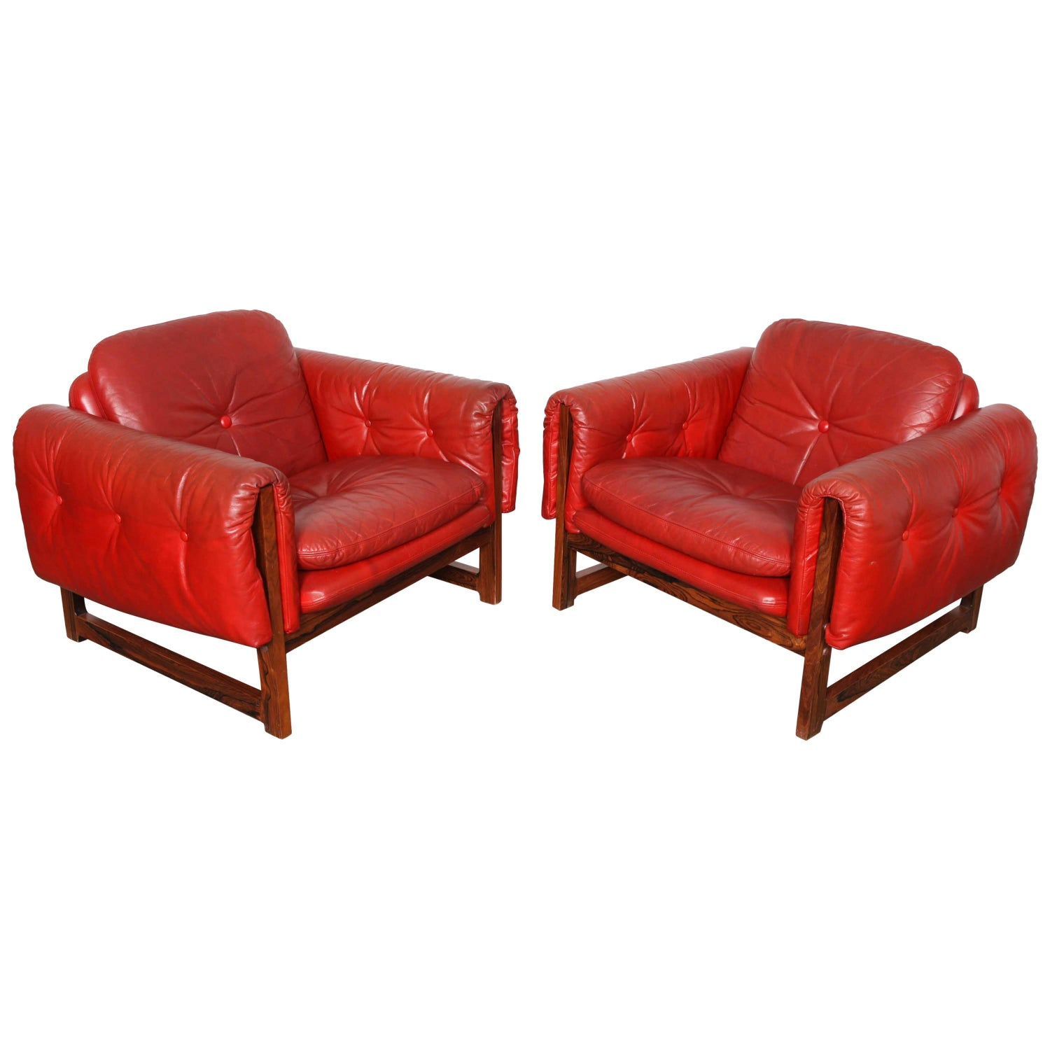 "Pair of Red Leather ""Milano"" Lounge Chairs by Risto Halme on"