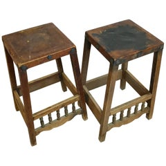 Early American Rustic Folk Art Leather & Wood with Hand-Forged Detail Bar Stools