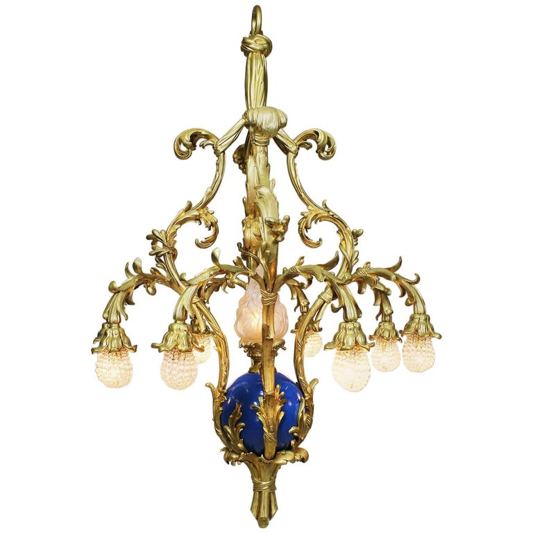 French Belle Époque 19th-20th Century Gilt & Enameled Bronze Bouquet Chandelier