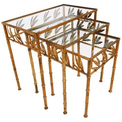 Set of Three Gilt Bamboo Italian Nesting Tables