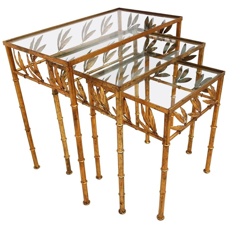 Set of Three Gilt Bamboo Italian Nesting Tables For Sale