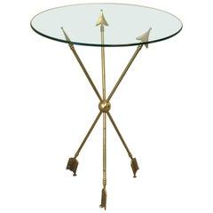 Brass Arrow Directoire Accent Table by Maison Jansen, 1960s
