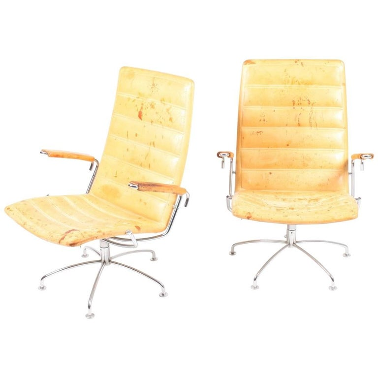 Pair of Patinated Lounge Chairs by Jens Amundsen For Sale